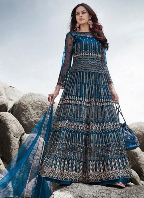 Reception Wear Blue Embroidery Work Heavy Net Anarkali Suit