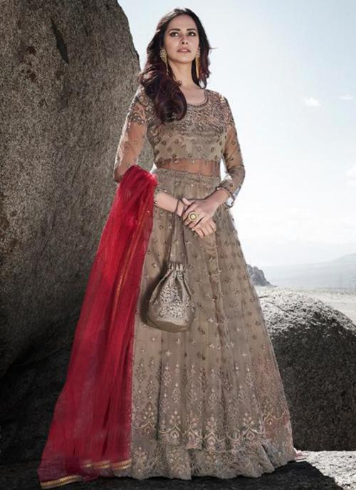 Reception Wear Brown Embroidery Work Heavy Net Anarkali Suit