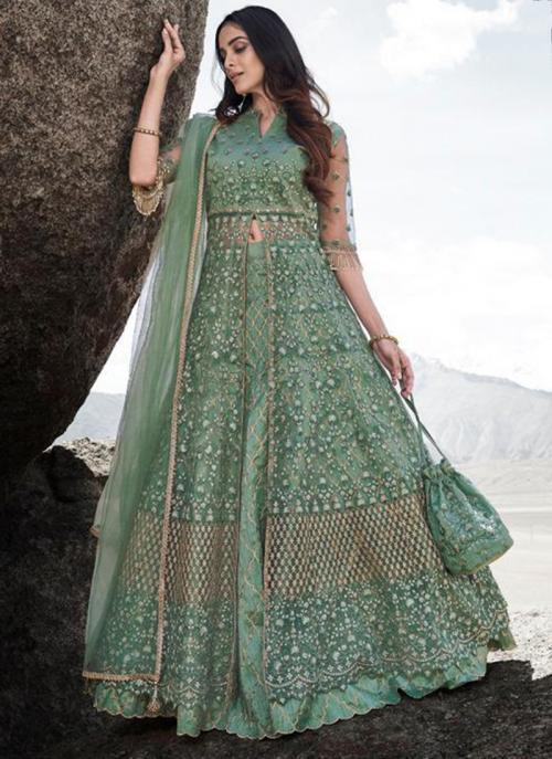 Reception Wear Teal Green Heavy Embroidery Work Net Anarkali Suit