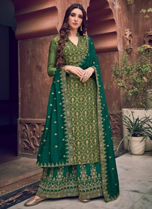 Wedding Wear Green Embroidery Work Pure Dola Jacquard Palazzo Suit