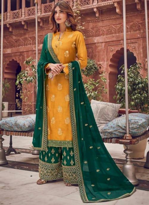Wedding Wear Mustard Embroidery Work Pure Dola Jacquard Palazzo Suit