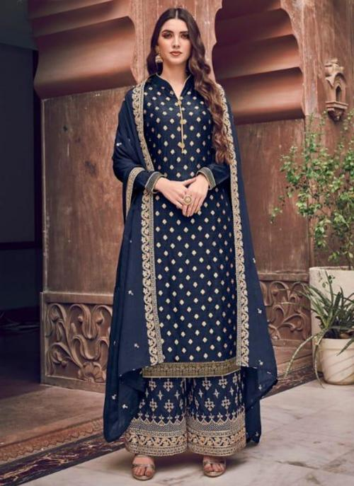 Wedding Wear Navy Blue Embroidery Work Pure Dola Jacquard Palazzo Suit