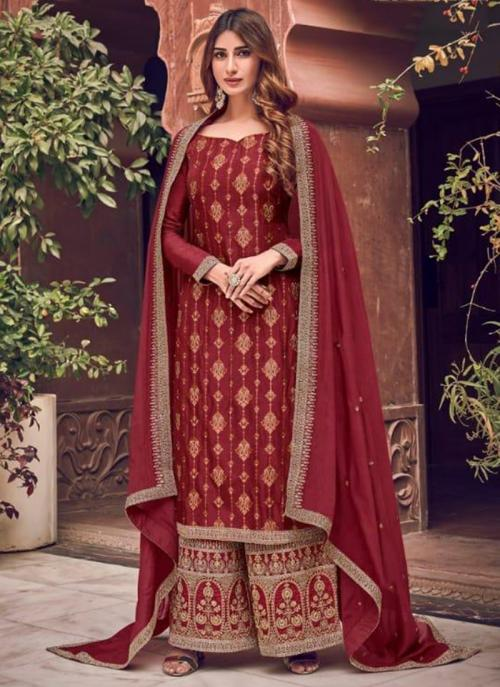Wedding Wear Red Embroidery Work Pure Dola Jacquard Palazzo Suit