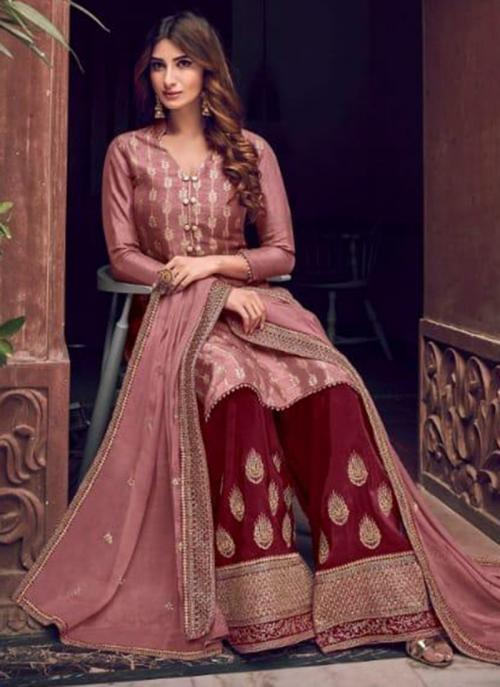 Wedding Wear Rose Gold Embroidery Work Pure Dola Jacquard Palazzo Suit