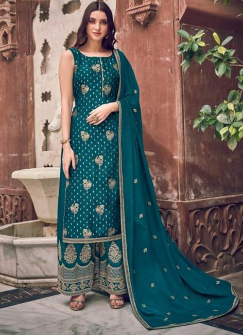 Wedding Wear Sky Blue Embroidery Work Pure Dola Jacquard Palazzo Suit