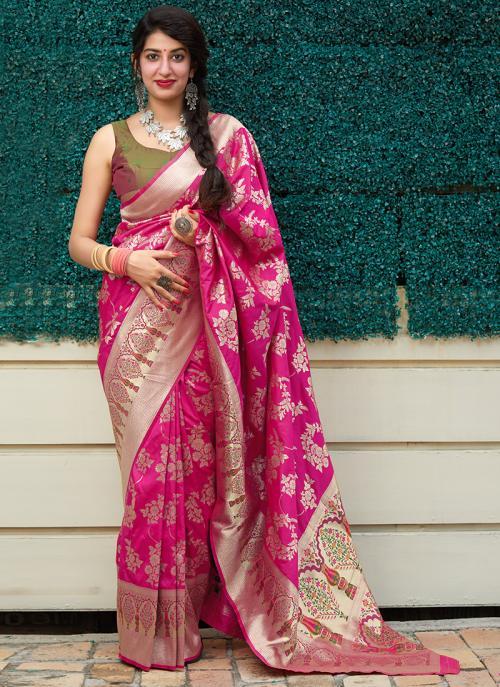 Party Wear Dark Pink Weaving Silk Heavy Saree