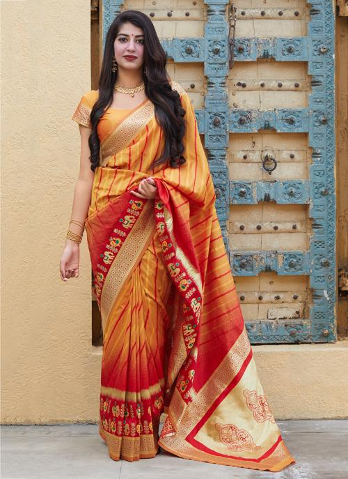 Party Wear Orange And Red Weaving Silk Heavy Saree