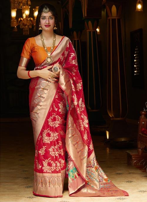 Party Wear Pink Fancy Weaving Silk Heavy Saree