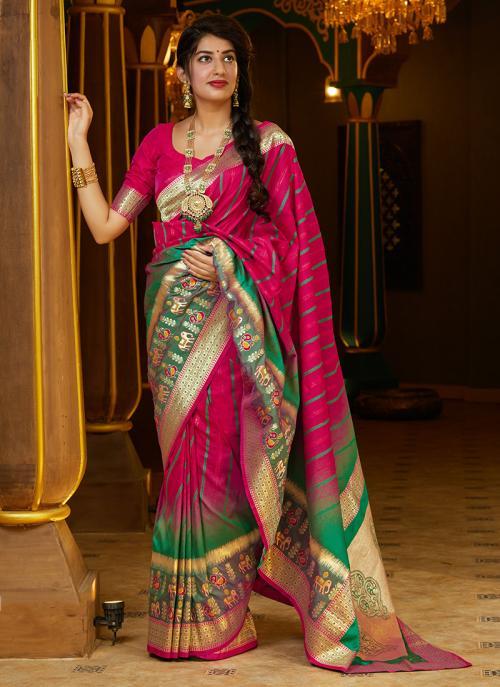 Party Wear Rani Weaving Silk Heavy Saree