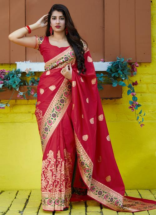 Party Wear Red Weaving Heavy Silk Saree