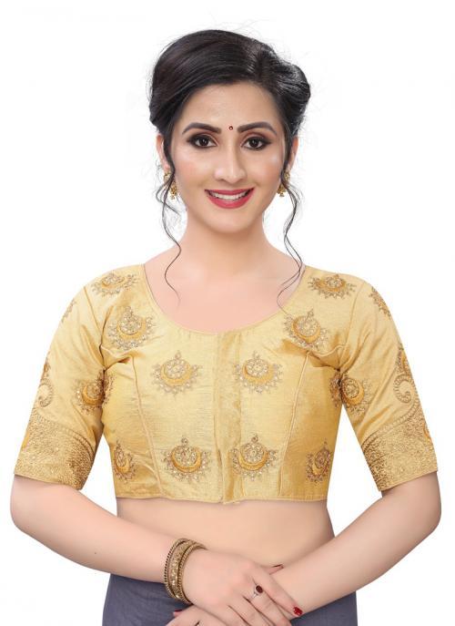 Wedding Wear Golden Diamond Work Phantom Silk Blouse