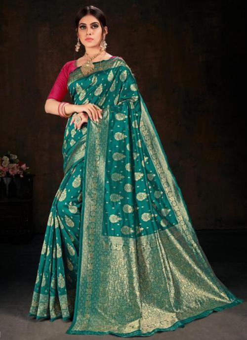 Festival Wear Green Fancy Weaving Banarasi Silk Saree