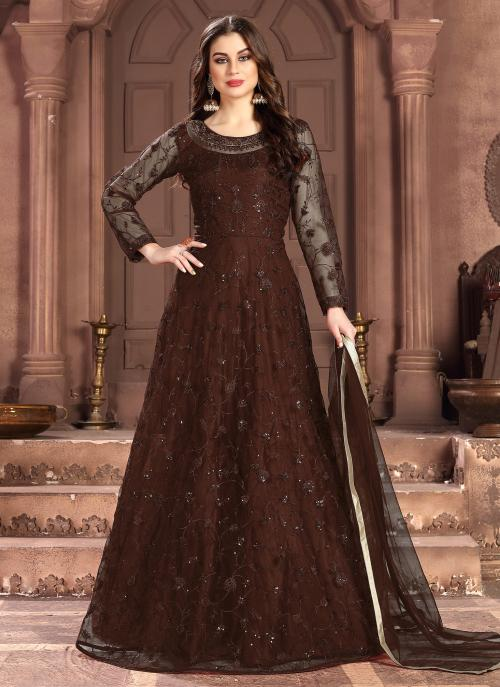 Wedding Wear Brown Net Sequins Work Anarkali Suit