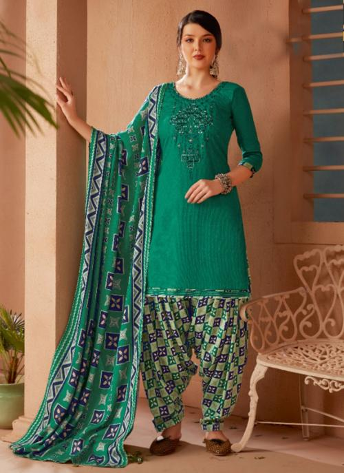 Daily Wear Green Embroidery Work Pashmina Patiala Suit