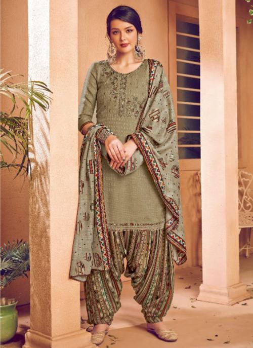 Daily Wear Grey Embroidery Work Pashmina Patiala Suit