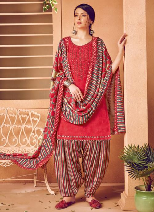 Daily Wear Red Embroidery Work Pashmina Patiala Suit