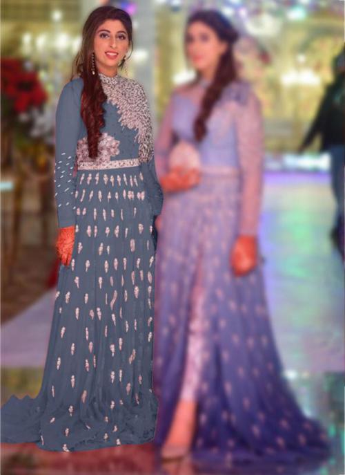 Wedding Wear Grey Embroidery Work Net Pakistani Suit