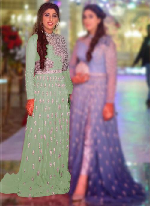Wedding Wear Light green Embroidery Work Net Pakistani Suit