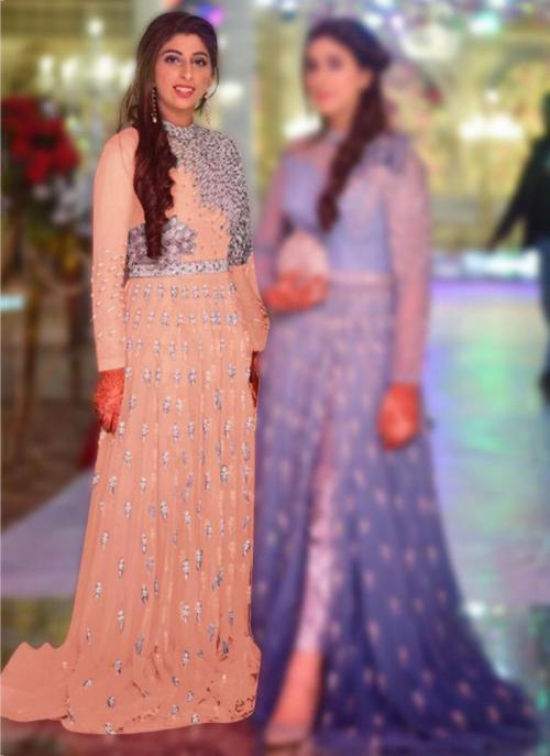 Wedding Wear Peach Embroidery Work Net Pakistani Suit