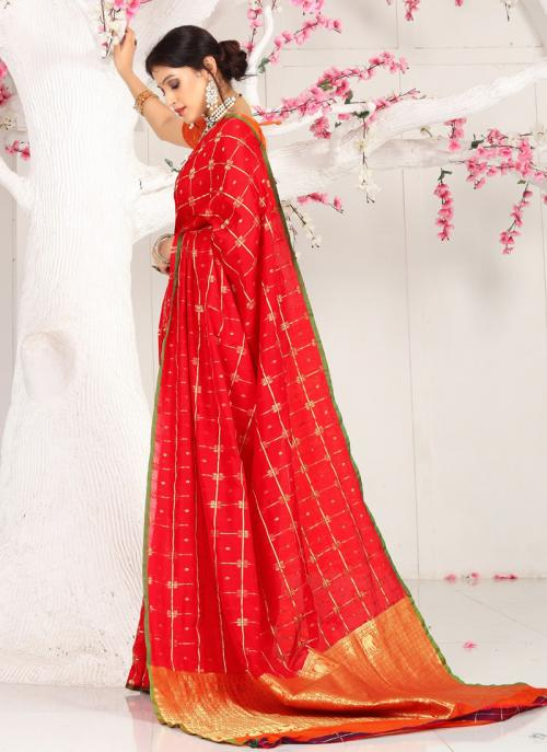 Casual Wear Red Weaving Cotton Saree