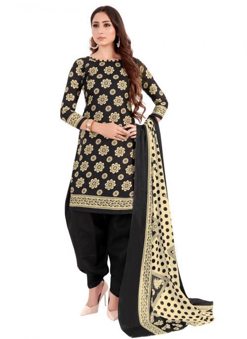 Daily Wear Black Fancy Printed Work Cotton Patiyala Suit