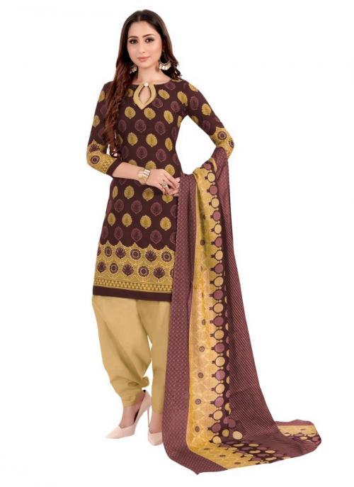 Daily Wear Brown Printed Work Cotton Patiyala Suit