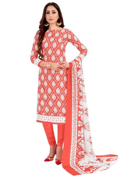 Daily Wear Dark Pink Printed Work Cotton Churidar Suit