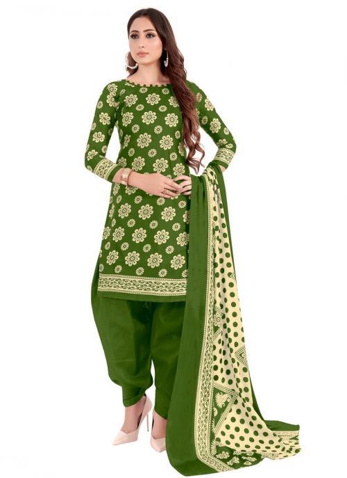 Daily Wear Green Printed Work Cotton Patiyala Suit