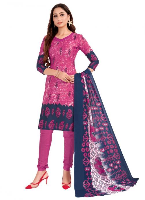 Daily Wear Light Pink Printed Work Cotton Churidar Suit