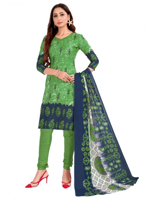 Daily Wear Light green Printed Work Cotton Churidar Suit