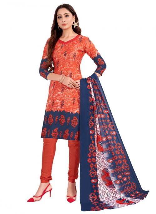 Daily Wear Orange Printed Work Cotton Churidar Suit