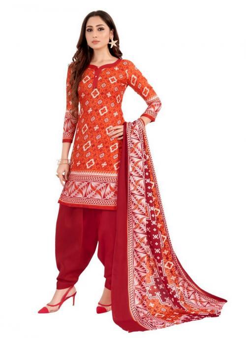 Daily Wear Orange Printed Work Cotton Patiyala Suit