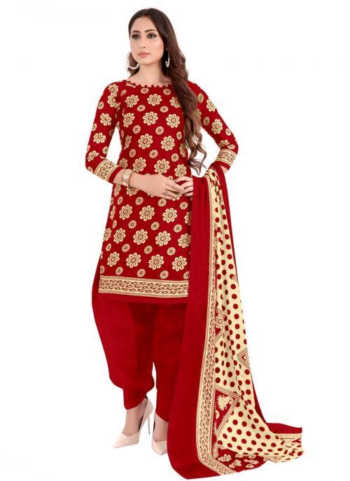 Daily Wear Red Printed Work Cotton Patiyala Suit