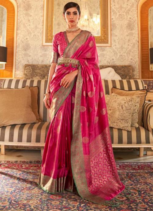 Party Wear Dark Pink Weaving Tussar Silk Saree