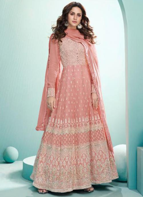 Wedding Wear Pink Embroidery Work Real Georgette Anarkali Suit