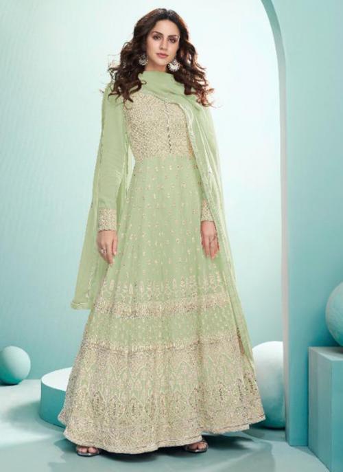 Wedding Wear Sea green Embroidery Work Real Georgette Anarkali Suit