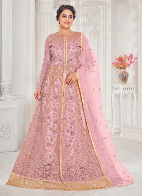 Wedding Wear Pink Embroidery Work Georgette Anarkali Suit