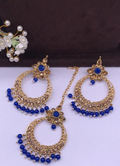 Royal Blue Pearls And Diamond Earrings With Maang Tikka Online Shopping