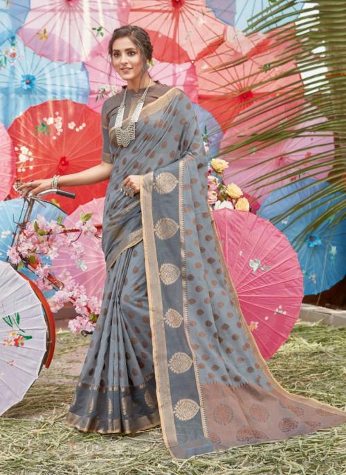 Traditional Wear Grey Handloom Cotton Saree