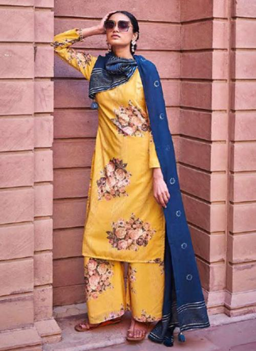 Traditional Wear Yellow Digital Printed Corchet Readymade Salwar Suit