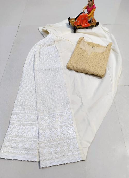 Traditional Wear Beige Chikan Work Pure Cotton Kurti With Patiyala