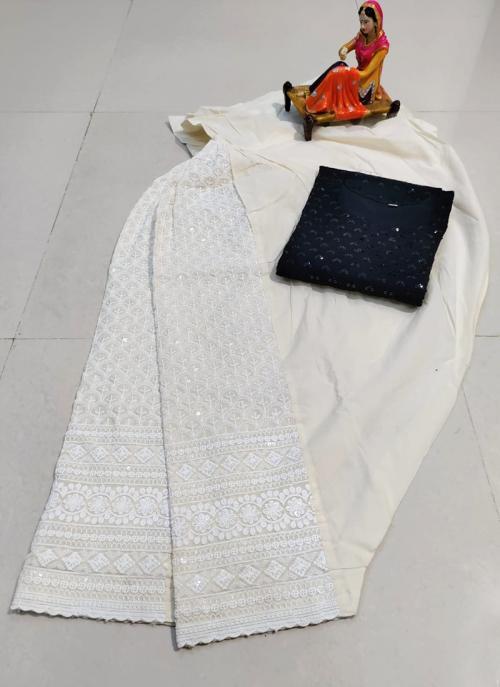 Traditional Wear Black Chikan Work Pure Cotton Kurti With Patiyala