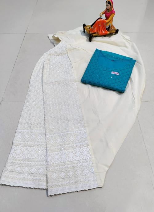 Traditional Wear Firozi Chikan Work Pure Cotton Kurti With Patiyala