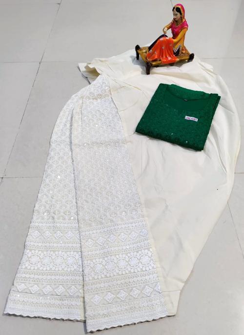 Traditional Wear Green Chikan Work Pure Cotton Kurti With Patiyala