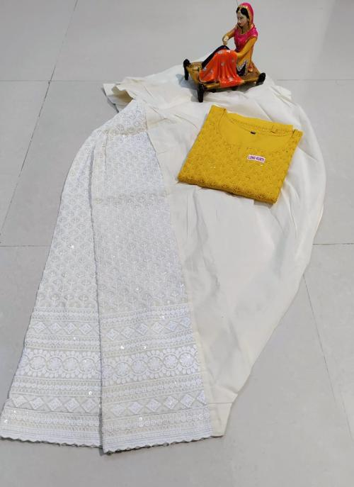 Traditional Wear Musterd Chikan Work Pure Cotton Kurti With Patiyala