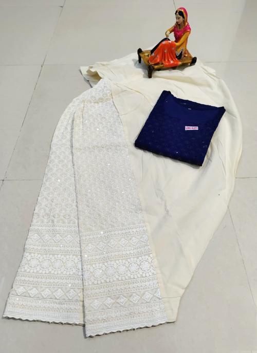 Traditional Wear Navy Blue Chikan Work Pure Cotton Kurti With Patiyala