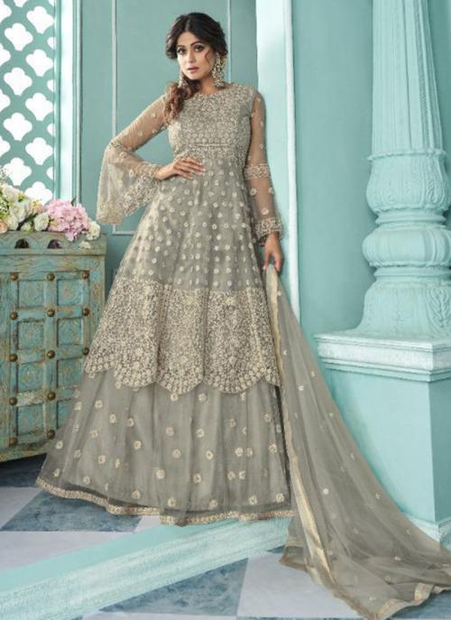 Wedding Wear Grey Embroidery Work Net Lehenga Suit