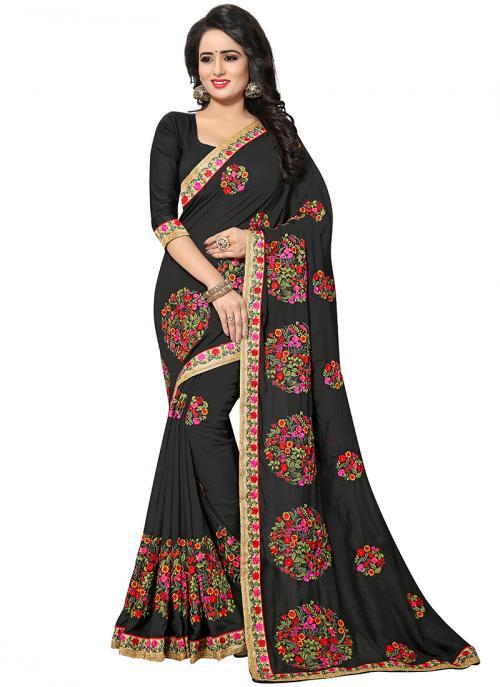 Party Wear Black Zari Resham Work Vichitra Silk Saree