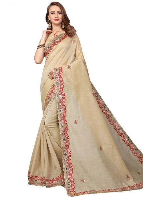 Party Wear Cream Zari Resham Work Cotton Silk Saree