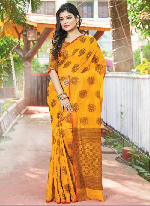 Traditional Wear Yellow Weaving Handloom Cotton Saree